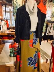 Leather Jacket, High-waist Maxi Skirt, Turtle Kneck